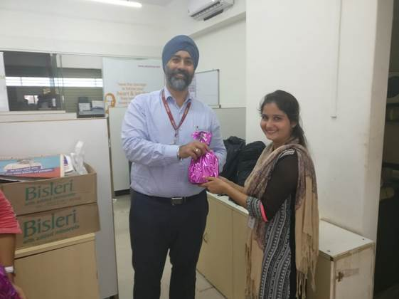 Receiving Gift for achieving beyond