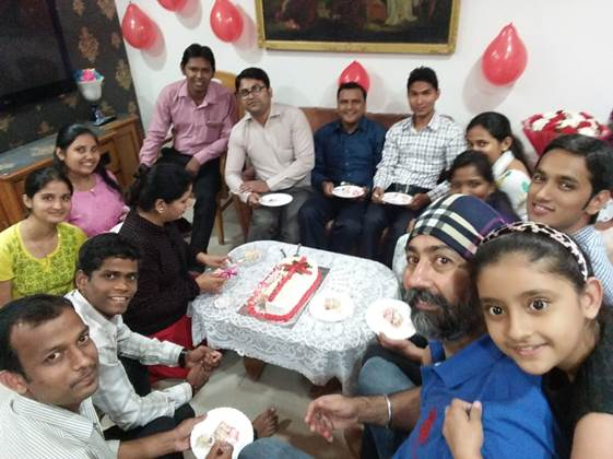 Celebrating Birthday of our CEO at his residence